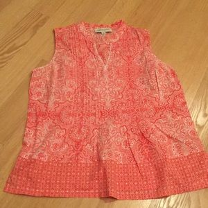 JONES NY Petite/M sleeveless orange/white top